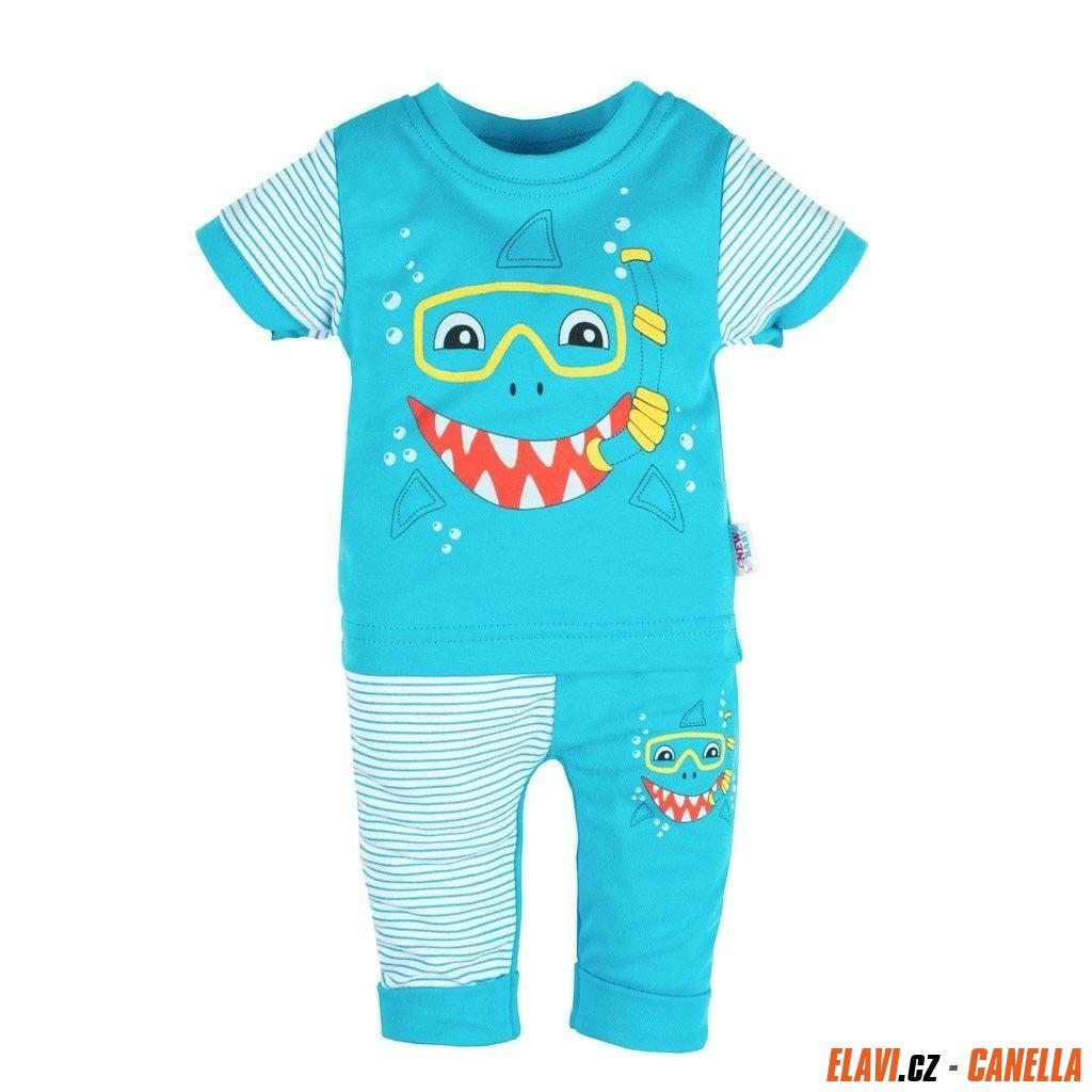 e16d18769 Kojenecké tričko s krátkým rukávem a tepláčky New Baby Shark Tyrkysová 68  (4-6m