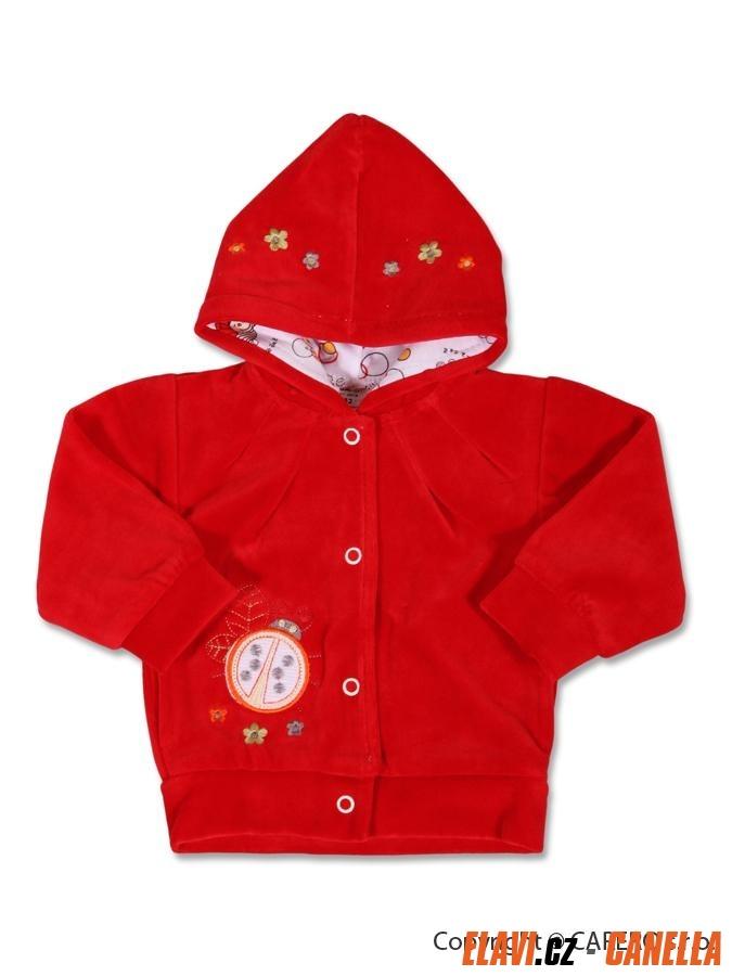 80e5e80ef7f Dětská mikinka s kapucí samet - vel. 80 - červená