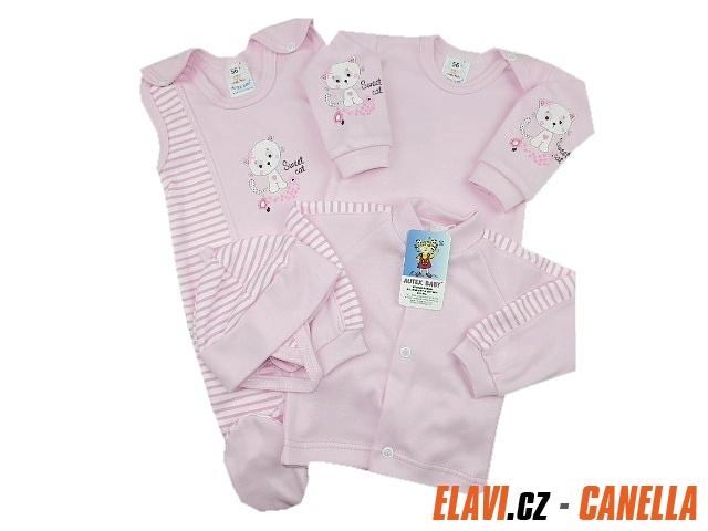 Souprava do porodnice 4-dílná (body) BÍLÁ + růžová - vel. 56 Kočička eb0c305cc4