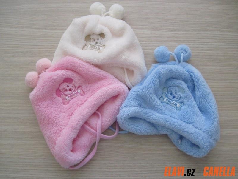 Dětská čepice fleece-peří podšitá bavlnou - bambulky - vel. XS (50 ... 847071a948
