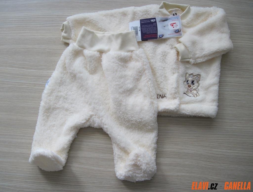 Kojenecký kabátek + polodupačky fleece-peří - vel. 56 barva bílá 67df46d0b8