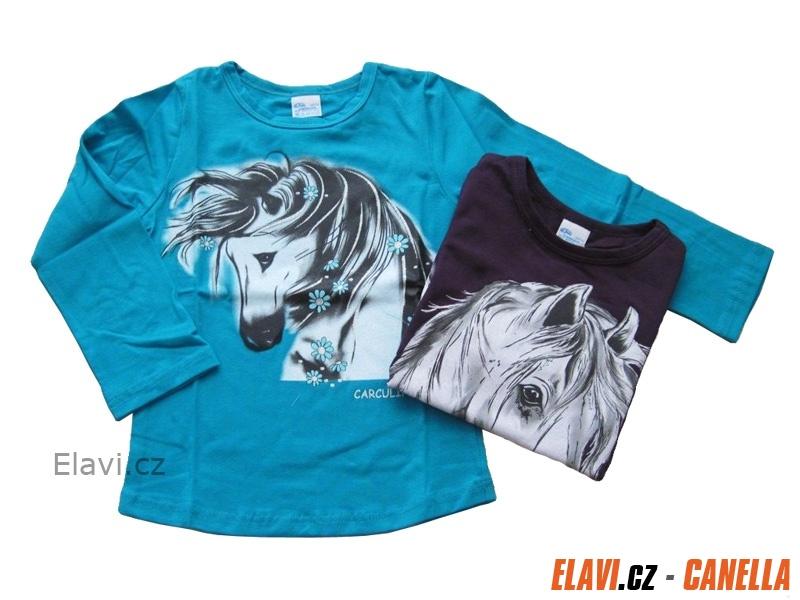 Dívčí tričko s obrázkem - koník - tmavě fialové - vel. 104 f145d2a99c